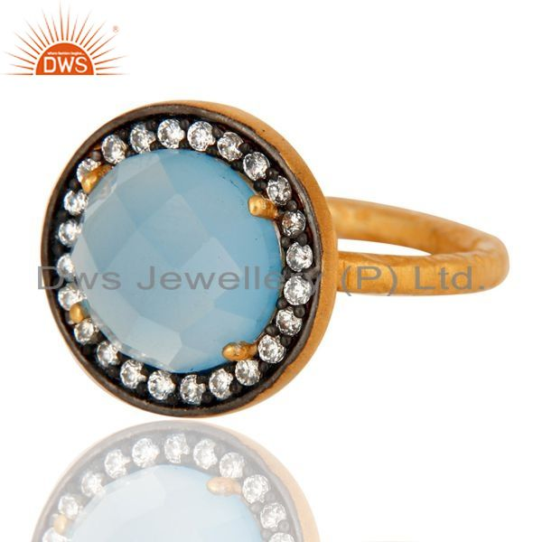 Exporter Aqua Blue Chalcedony Ring With CZ Made In 18K Gold Over Sterling Silver Jewelry