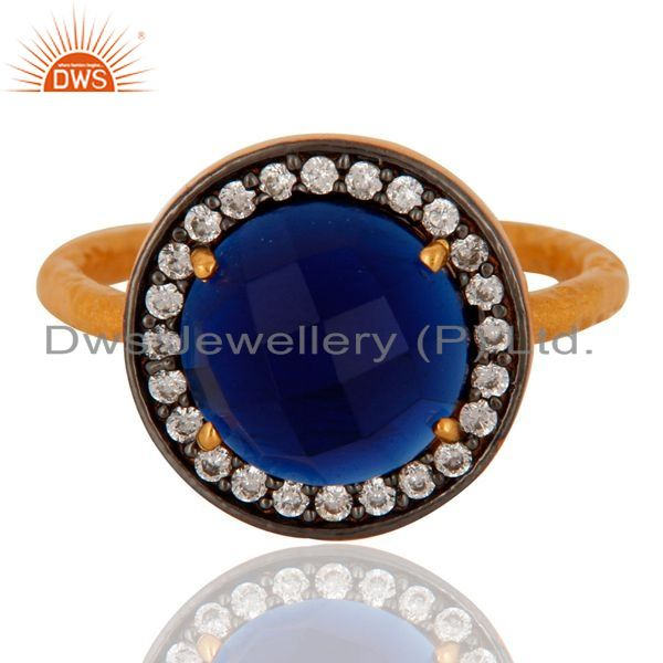 Exporter Handmade Blue Corundum Gemstone 925 Sterling Silver Gold Plated Stack Ring