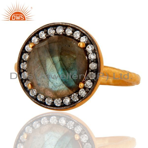 Exporter 24K Gold Plated Sterling Silver Labradorite Gemstone Ring With CZ