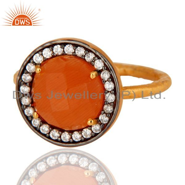 Exporter 22K Yellow Gold Plated 925 Sterling Silver Peach Moonstone And White Zircon Ring
