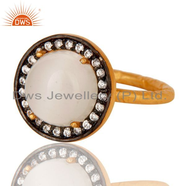 Exporter 22K Yellow Gold Plated 925 Sterling Silver White Moonstone And White Zircon Ring