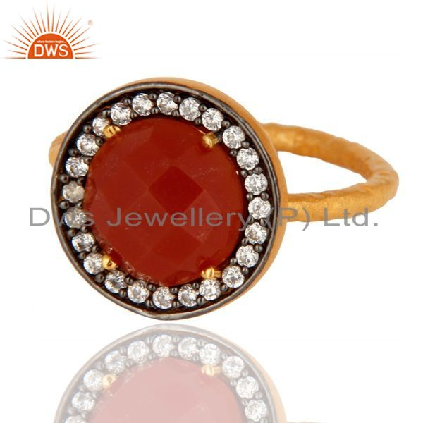 Exporter 925 Sterling Silver Red Onyx Gemstone 22K Gold Plated Handmade Hammered Ring