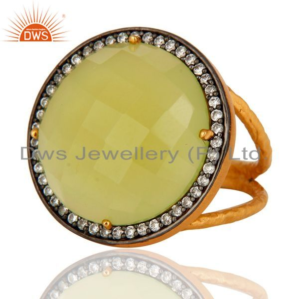 Exporter Natural Prehnite Chalcedony Faceted Gemstone Ring Made in 18K Gold On 925 Silver