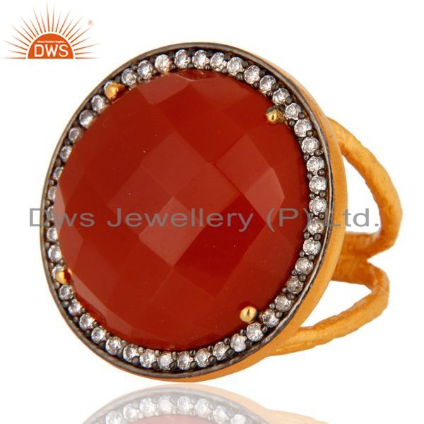 Exporter 22K Yellow Gold Plated Red Onyx Gemstone Prong Set Sterling Silver Ring With CZ