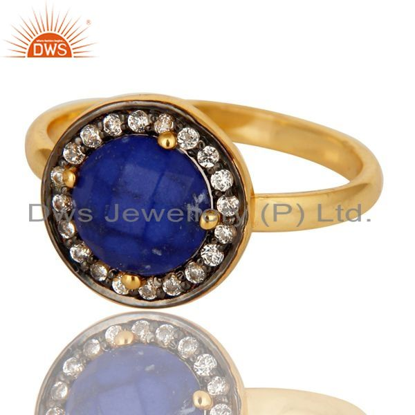Exporter Shiny 18K Yellow Gold Plated Sterling Silver Lapis Lazuli And CZ Stacking Ring