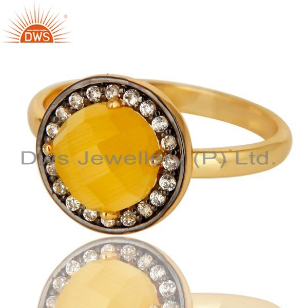 Exporter Stunning 14K Gold Plated Sterling Silver Yellow Moonstone Stone Stackable Ring