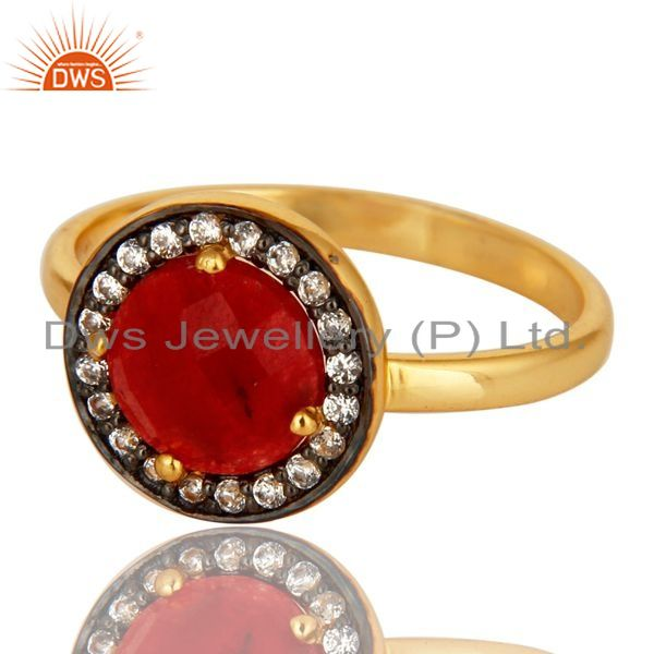 Exporter 18K Yellow Gold Plated Sterling Silver Red Aventurine Stackable Ring With CZ