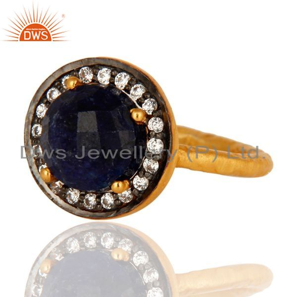Exporter 925 Sterling Silver Blue Corundum Ring With CZ - Yellow Gold Plated