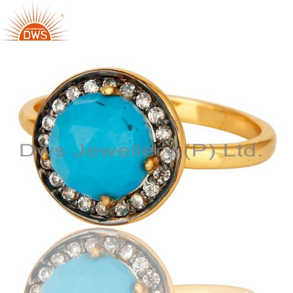 Exporter Shiny 18K Yellow Gold Plated Sterling Silver Turquoise And CZ Stackable Ring