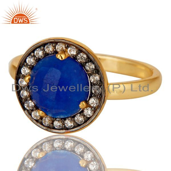 Exporter 14K Yellow Gold Plated Sterling Silver Blue Aventurine And CZ Stackable Ring
