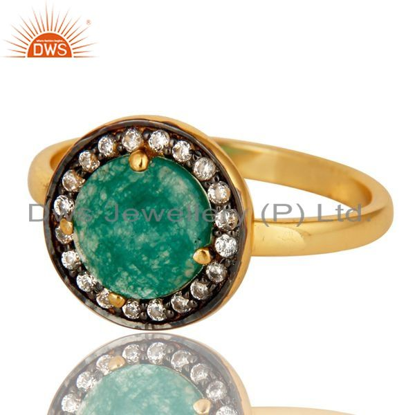 Exporter Green Aventurine And CZ Stunning 14K Yellow Gold Plated Sterling Silver Ring
