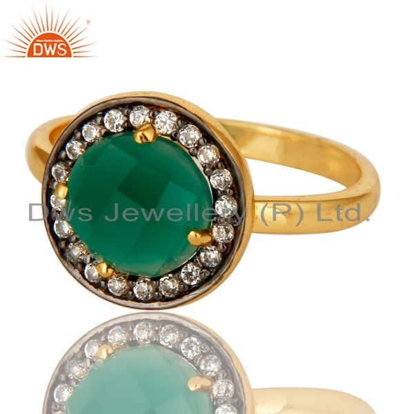 Exporter 14K Yellow Gold Plated Sterling Silver Green Onyx Stone Stackable Ring With CZ