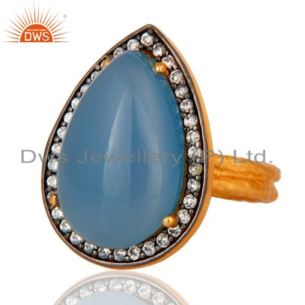 Exporter Handmade Blue Chalcedony Gold Plated Sterling Silver Prong Set Gemstone Ring