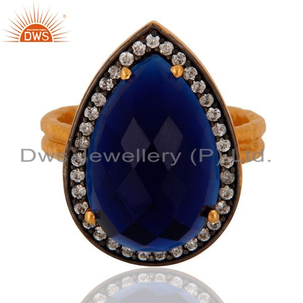 Exporter 18k Gold Over Sterling Silver Created Blue Sapphire Two Stack Hammered Band Ring
