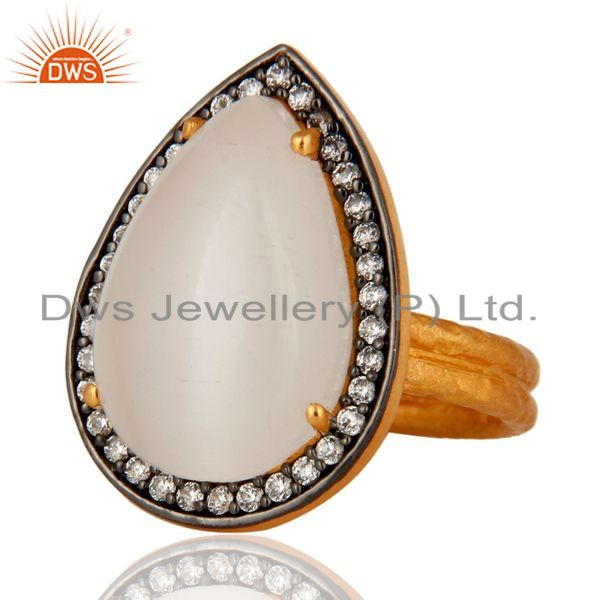 Exporter 24K Gold Plated Sterling Silver White Moonstone Pear Hammered Cocktail Ring