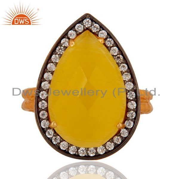 Exporter 18k Gold Plated 925 Sterling Silver Yellow Moonstone Prong Set Designer Ring