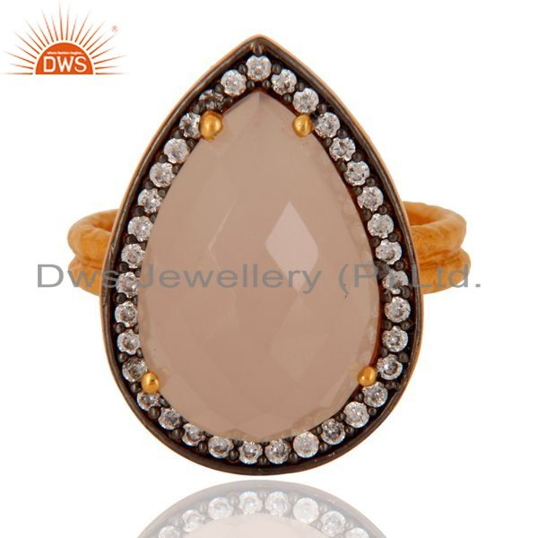 Exporter Handmade 925 Sterling Silver Genuine Rose Chalcedony Gold Plated Ring With CZ
