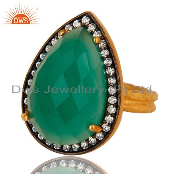 Exporter 18k Gold Plated Sterling Silver Prong Set Green Onyx Gemstone Ring With CZ