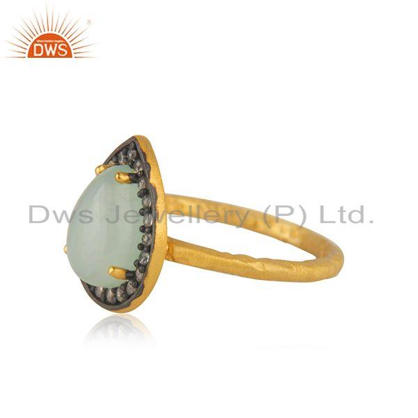 Exporter Aqua Chalcedony Gemstone 925 Silver Yellow Gold Plated Ring Manufacturer India
