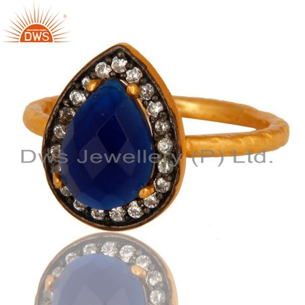 Exporter 18K Yellow Gold Plated Sterling Silver Blue Corundum And CZ Hammered Band Ring