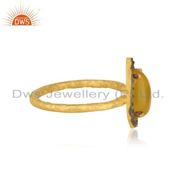 Exporter Yellow Chalcedony Gemstone 925 Silver Gold Plated Ring Manufacturer India