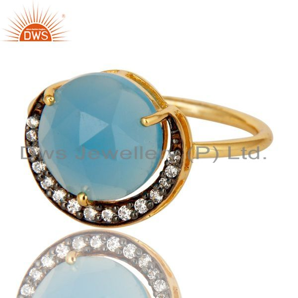 Exporter 18K Yellow Gold Plated Sterling Silver Aqua Blue Chalcedony Gemstone Ring