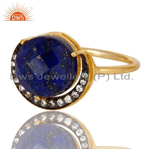 Exporter 14K Yellow Gold Plated Sterling Silver  Lapis Lazuli And CZ Half Moon Stack Ring