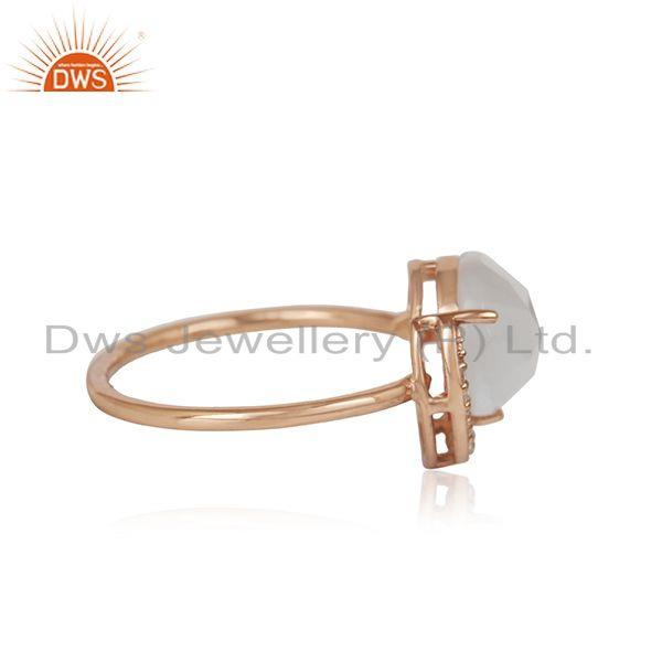 Exporter Half Moon Design Rose Gold Plated 925 Silver White Moonstone Ring