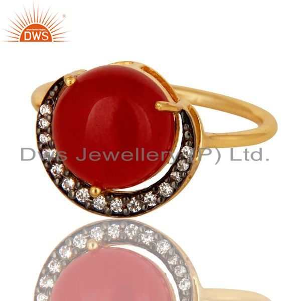 Exporter Natural Red Aventurine 18K Gold Plated Sterling Silver Stacking Ring With CZ