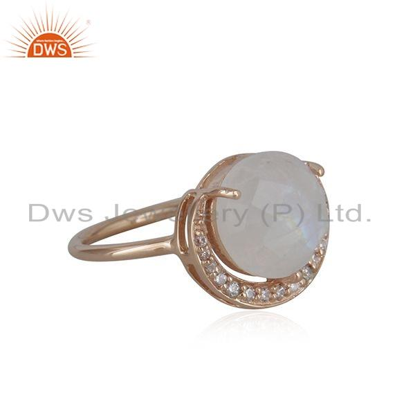 Exporter 925 Silver Rainbow Moonstone CZ Gemstone Half Moon Ring Jewelry