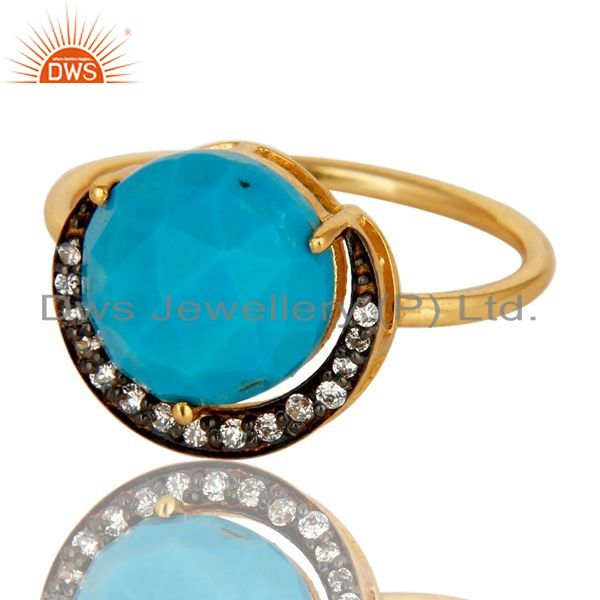 Exporter 14K Yellow Gold Plated Sterling Silver CZ And Turquoise Designer Stacking Ring