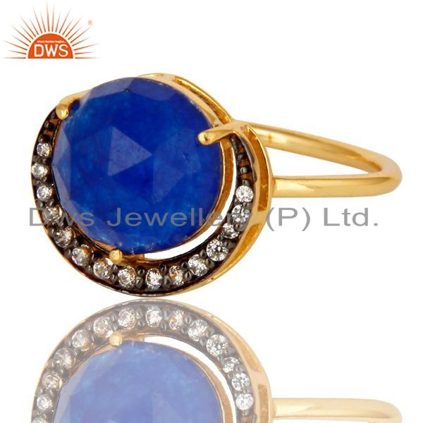 Exporter Prong Set Blue Aventurine And CZ 18K Gold Plated Sterling Silver Stacking Ring