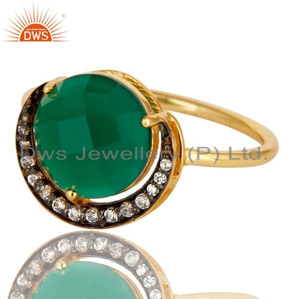 Exporter Green Aventurine 14K Gold Plated Sterling Silver Half Moon Stackable Ring With C
