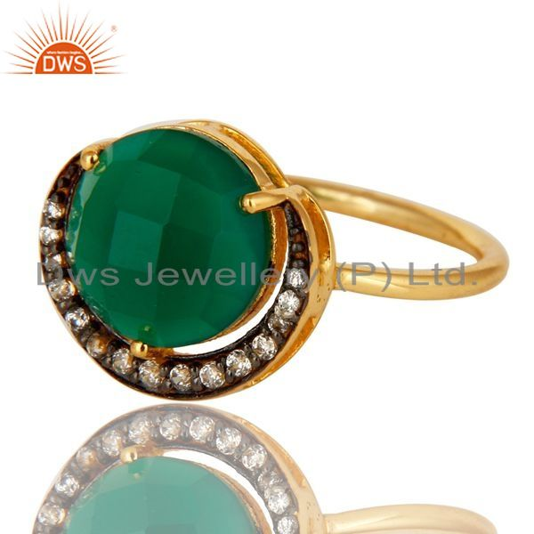 Exporter 18K Gold Plated Sterling Silver Faceted Green Onyx And CZ Stack Ring