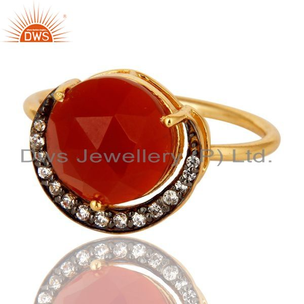Exporter Shiny 14K Yellow Gold Plated Sterling Silver Red Onyx Stack Ring With CZ