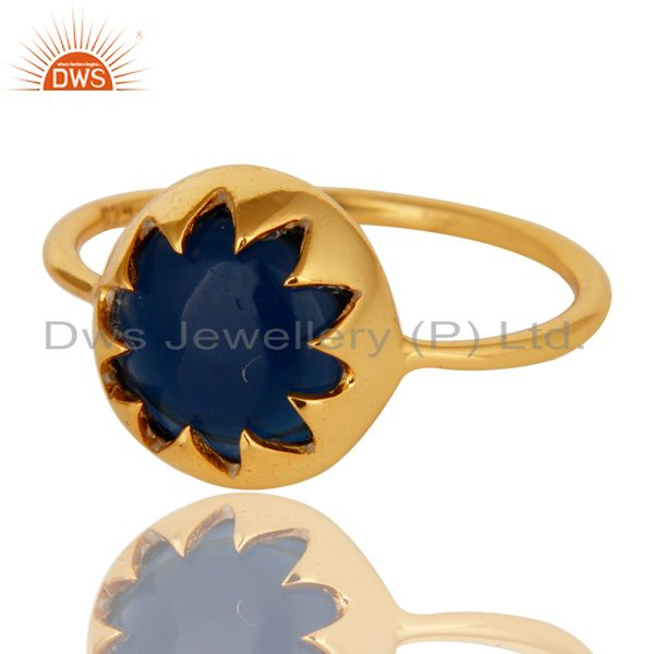 Exporter Stunning 14K Yellow Gold Plated Sterling Silver Blue Corundum Stack Ring