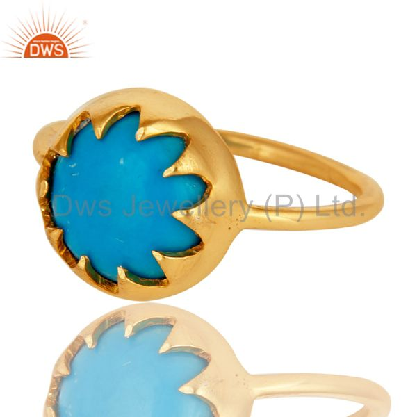 Exporter Handmade Turquoise Gemstone Ring Made In 18K Gold Over Sterling Silver