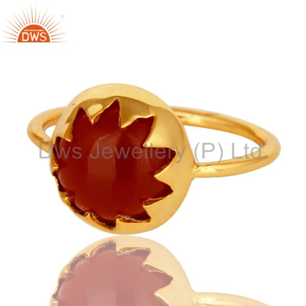 Exporter Handmade Red Onyx Gemstone Sterling Silver Stack Ring With Gold Plated