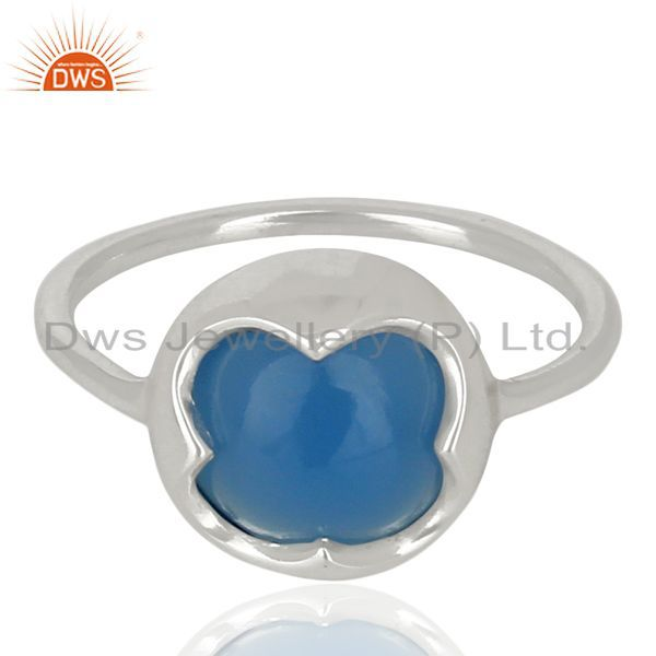 Exporter Blue Chalcedony Stackable 925 Sterling Silver Ring Gemstone Jewelry
