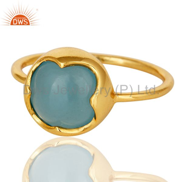 Exporter 14K Yellow Gold Plated Sterling Silver Aqua Blue Chalcedony Stack Ring