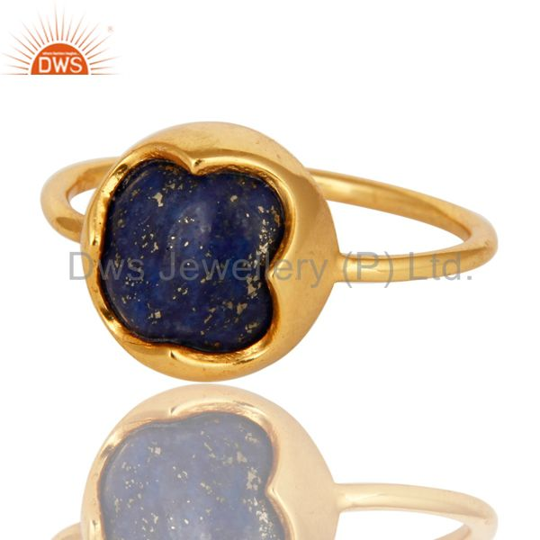 Exporter 18K Yellow Gold Plated Sterling Silver Natural Lapis Lazuli Stacking Ring