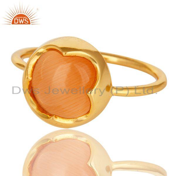 Exporter 14K Yellow Gold Plated Sterling Silver Peach Moonstone Stack Ring