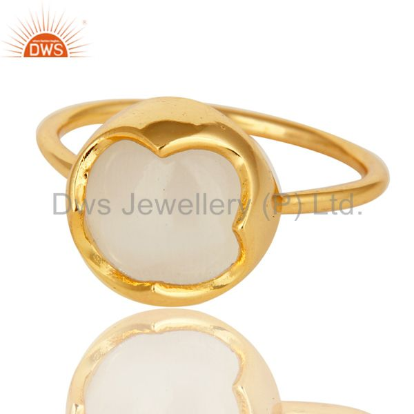 Exporter 14K Yellow Gold Plated Sterling Silver White Moonstone Designer Stackable Ring
