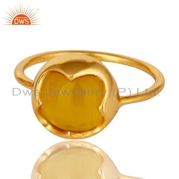 Exporter Handmade Yellow Moonstone Gemstone Stackable Ring In 18K Gold Over Sterling Sil