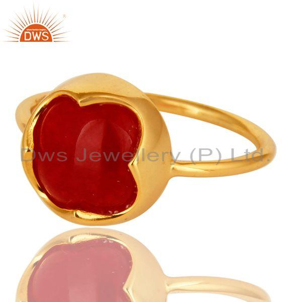 Exporter Natural Red Aventurine Gemstone Sterling Silver Ring With Yellow Gold Plated