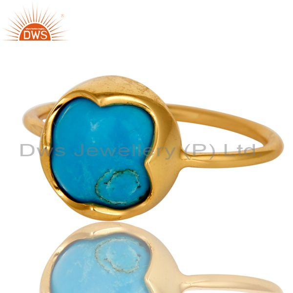 Exporter 18K Yellow Gold Plated Sterling Silver Turquoise Gemstone Stackable Ring