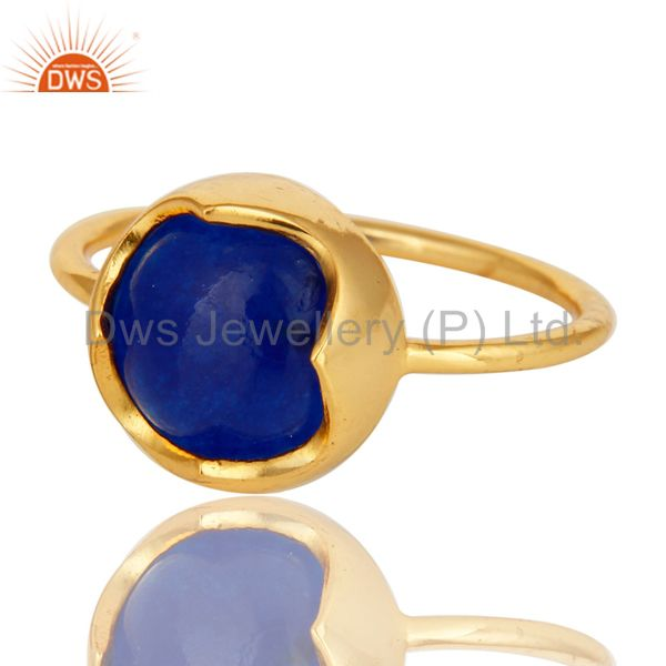 Exporter 14K Yellow Gold Plated Sterling Silver Blue Aventurine Stackable Ring