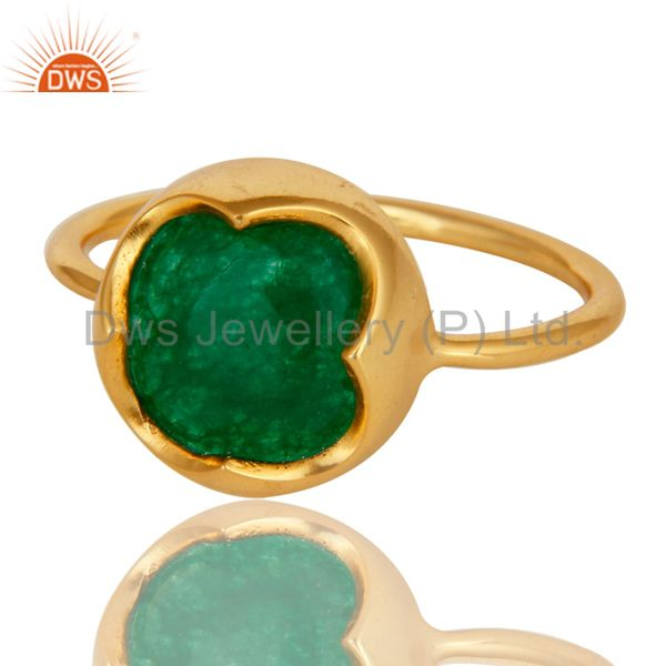 Exporter Green Aventurine Gemstone Sterling Silver Stackable Ring With Yellow Gold Plated