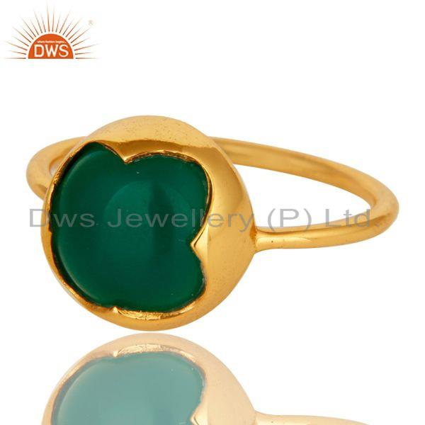 Exporter Natural Green Onyx Gemstone Sterling Silver Stackable Ring With Gold Plated