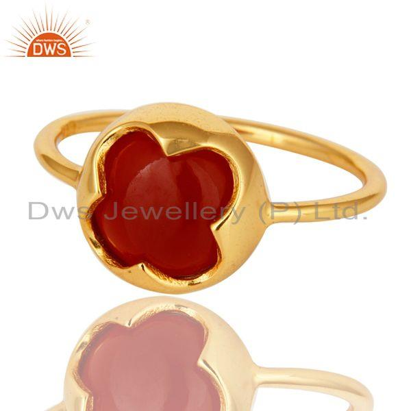 Exporter 14K Yellow Gold Plated Sterling Silver Red Onyx Designer Stackable Ring